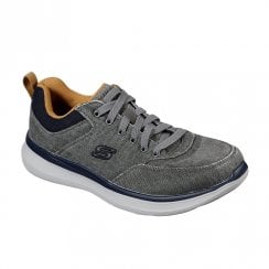 Skechers Mens Delson 2.0 Kemper Charcoal Canvas Sneakers