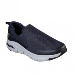 Skechers Mens Arch Fit Banlin Navy Mesh Fabric Slip On Sneakers