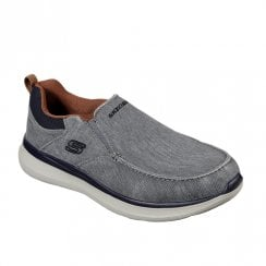 Skechers Mens Delson 2.0 Larwin Vintaged Canvas Slip On Sneakers - Grey