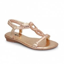 Lunar Samantha Junior Kids Diamond T-Bar Sandals JCH004 - Rose Gold