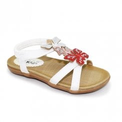 Lunar India Butterfly Junior Kids Rhinestone Sandals JCH007 - White