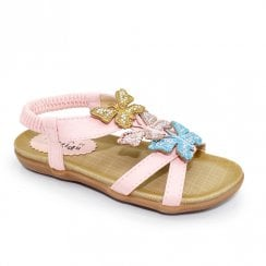 Lunar India Butterfly Junior Kids Rhinestone Sandals JCH007 - Pink