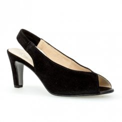 Gabor Black Suede Slingback Peep Toe High Heel Sandals