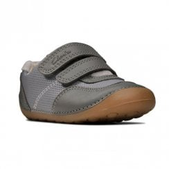 Clarks Kids Tiny Dusk Toddler Velcro Grey Leather Shoes (F Width)