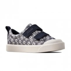 Clarks Kids City Bright Toddler Velcro Navy Floral Glitter Shoes (F Width)