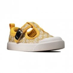 Clarks Kids City Dance Toddler Yellow Floral Glitter T-bar Shoes (F Width)
