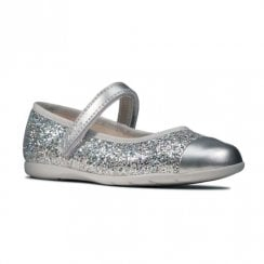 Clarks Kids Dance Tap Toddler Mary Jane Velcro Silver Glitter Shoes (F Width)