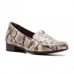 Clarks Womens Juliet Lora Taupe Snake Flat Loafer Shoes (D Width)