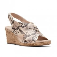 Clarks Womens Lafley Alaine Snake Wedge Heeled Slingback Sandals