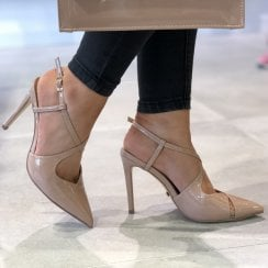 Glamour Womens Nude Cross Over Patent Stiletto Heels - Chloe