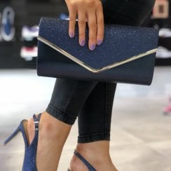 Glamour Navy Sparkly Envelope Clutch Bag - Celine