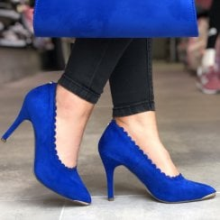 Barino Blue Scallop Trim High Heeled Occasion Court Shoes - 514