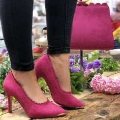 Barino Fuchsia Scallop Trim High Heeled Occasion Court Shoes - 514