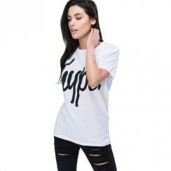 Hype Womens White Script Short Sleeve T-Shirt
