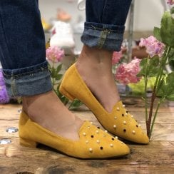 Redz Womens Yellow Embellished Pumps