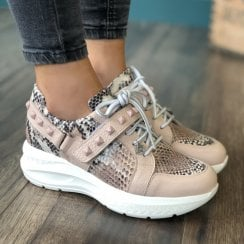 Jose Saenz Rose Snake Print Studded Chunky Trainer
