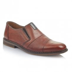 Rieker Mens Brown Leather Slip On Smart Shoes