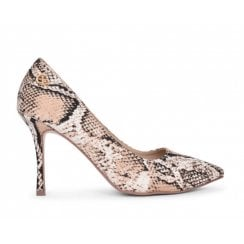 Glamour Womens Beige Snake Print Court Shoes - Clara