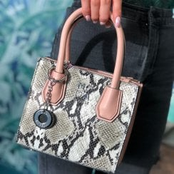 Moda In Pelle Pink/Snake Print Mini Grab Bag