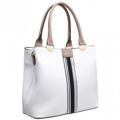 Bessie London Womens White Tote Handbag - BW4273