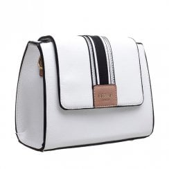 Bessie London Womens White Black Stripe Panel Flap Crossbody Bag - BW4274