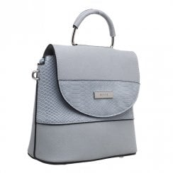 Bessie London Womens Blue Croc Print Top Handle Flap Over Bag - BW4378