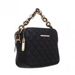 Bessie London Womens Black Acrylic Chain Top Handle Quilted Bag - BL4191