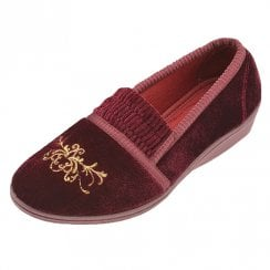 Dunlop Womens Wine Amelie Velour Slippers