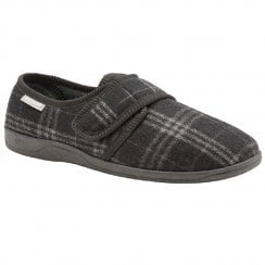 Dunlop Mens Grey/Black Check Merrick Velcro Slipper