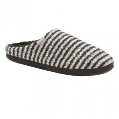Dunlop Mens Linus Black Striped Mule Slipper