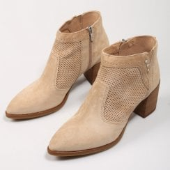 Alpe Womens Taupe Suede Block Heeled Boots