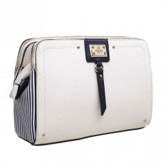 Bessie London Womens White Two Tone Canvas Panel Crossbody Bag - BW4278