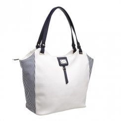 Bessie London Womens White Navy Two Tone Shopper Bag - BW4277