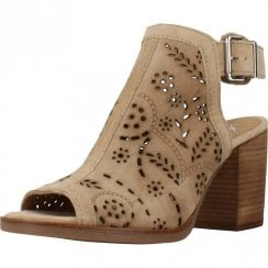 Alpe Womens Taupe Suede Block Heeled Sandals