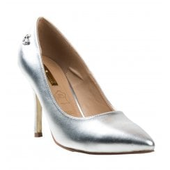 Glamour Clara Silver Metallic Court Shoes