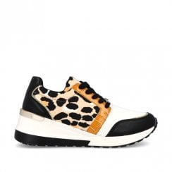 Menbur Black Leopard Wedge Sneakers