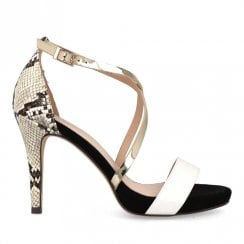 Menbur Black and Gold Crossover Sandal