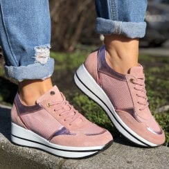 Pitillos Pink Slip On Chunky Sole Sneakers