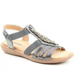 Heavenly Feet Pewter Croc Effect Flat Sandals - Agneta