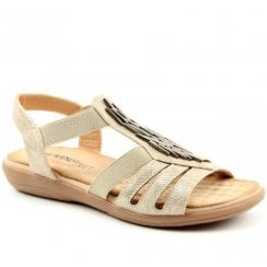 Heavenly Feet Stone Croc Effect Flat Sandals - Agneta