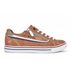 Mustang Ladies Zip Trainer - Cognac Tan