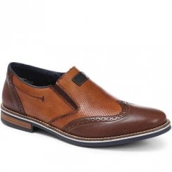 Rieker Men's Brown Combination Slip On Brogue Shoes