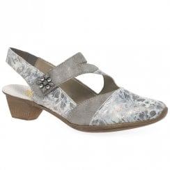 Rieker Grey Cross Strap Low Heeled Shoe