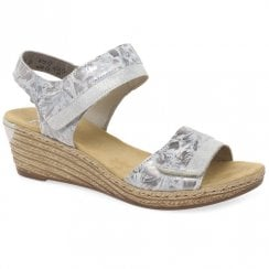 Rieker Ladies Wedge Heel Velcro Strap Grey Sandals