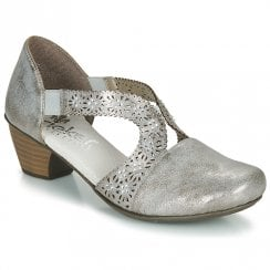 Rieker 4175040 Ladies Grey Low Heeled Comfort Sandals