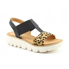 Heavenly Feet Ritz Black and Leopard Wedge Sandal