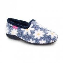 Lunar Womens Primula Full Floral Slippers - Blue