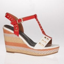 Escape Red Mix Studded Wedged Sandal -  Deadwood Two
