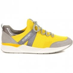 Ara Womens Yellow Lace Up Mesh Sneakers