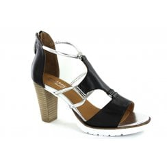 Regarde le Ciel Sylvie 47 Leather High Heeled Sandals - Black